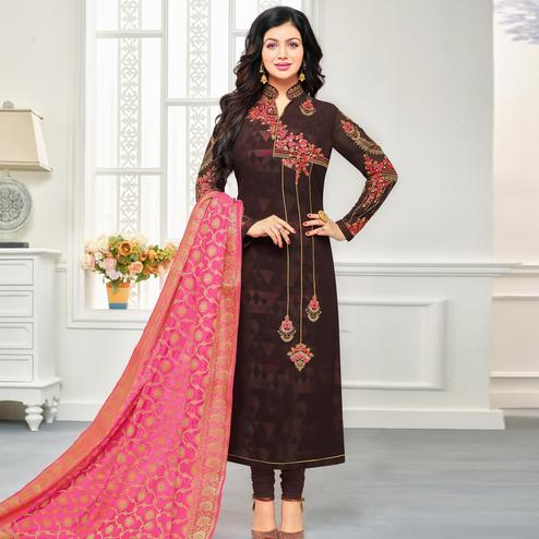 Intricate Brown Colored Embroidered Party Wear Georgette Salwar Suit