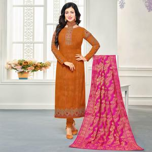 Desirable Orange Colored Embroidered Party Wear Georgette Salwar Suit