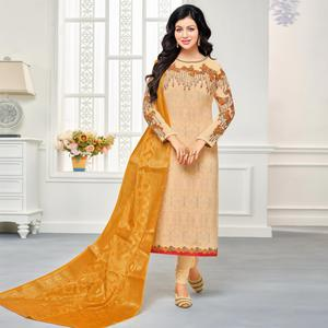 Sophisticated Cream Colored Embroidered Party Wear Georgette Salwar Suit