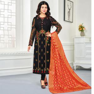 Demanding Black Colored Embroidered Party Wear Georgette Salwar Suit