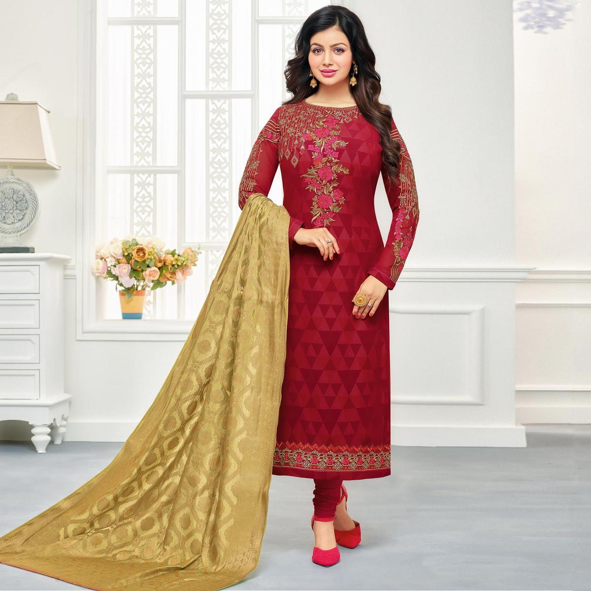 Unique Maroon Colored Embroidered Party Wear Georgette Salwar Suit
