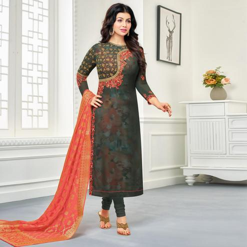 Refreshing Grey Colored Embroidered Party Wear Georgette Salwar Suit