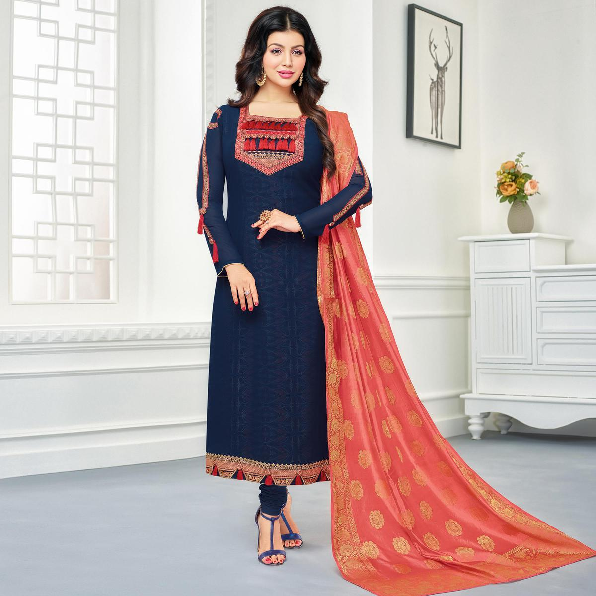 Elegant Navy Blue Colored Embroidered Party Wear Georgette Salwar Suit