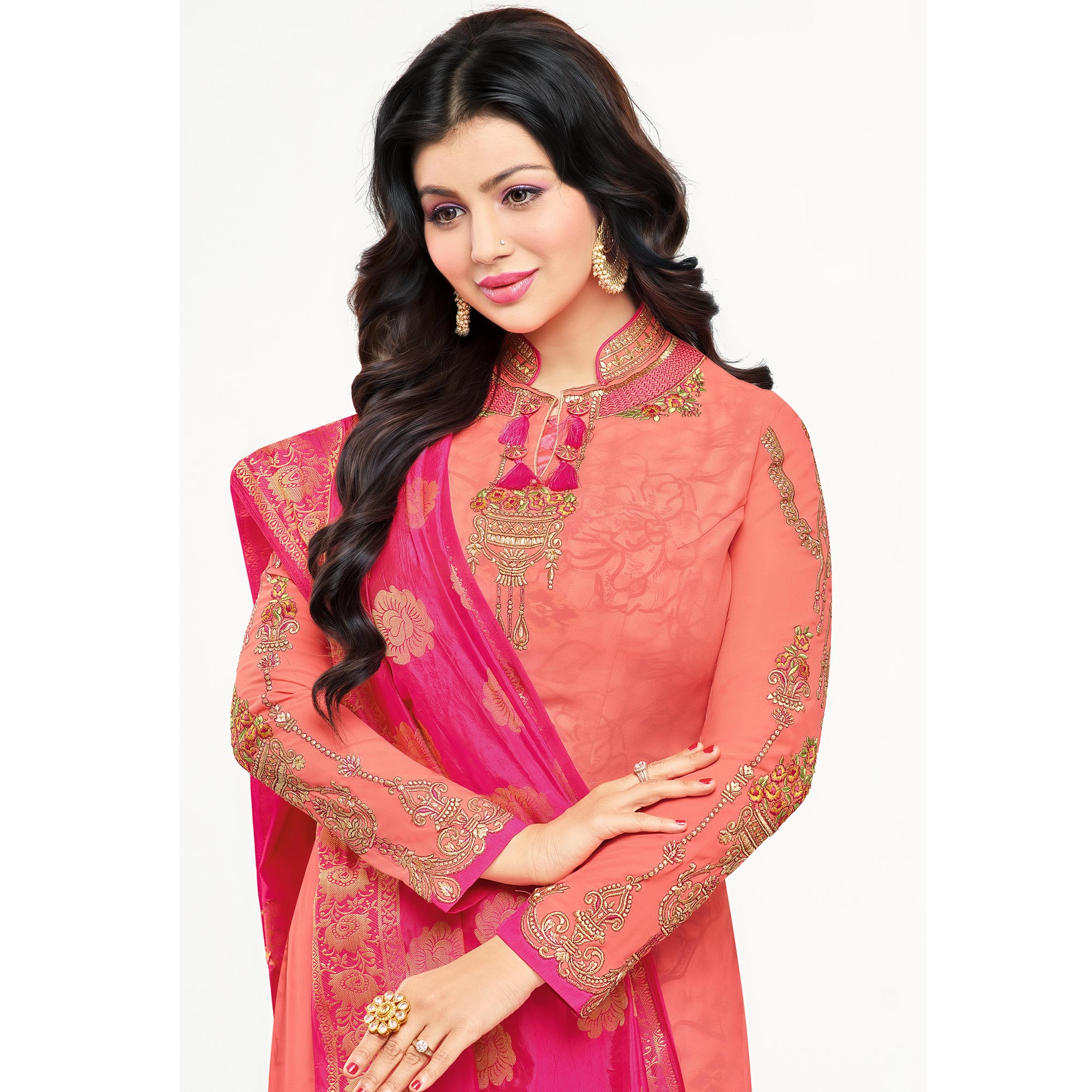 Alluring Pink Colored Embroidered Party Wear Georgette Salwar Suit
