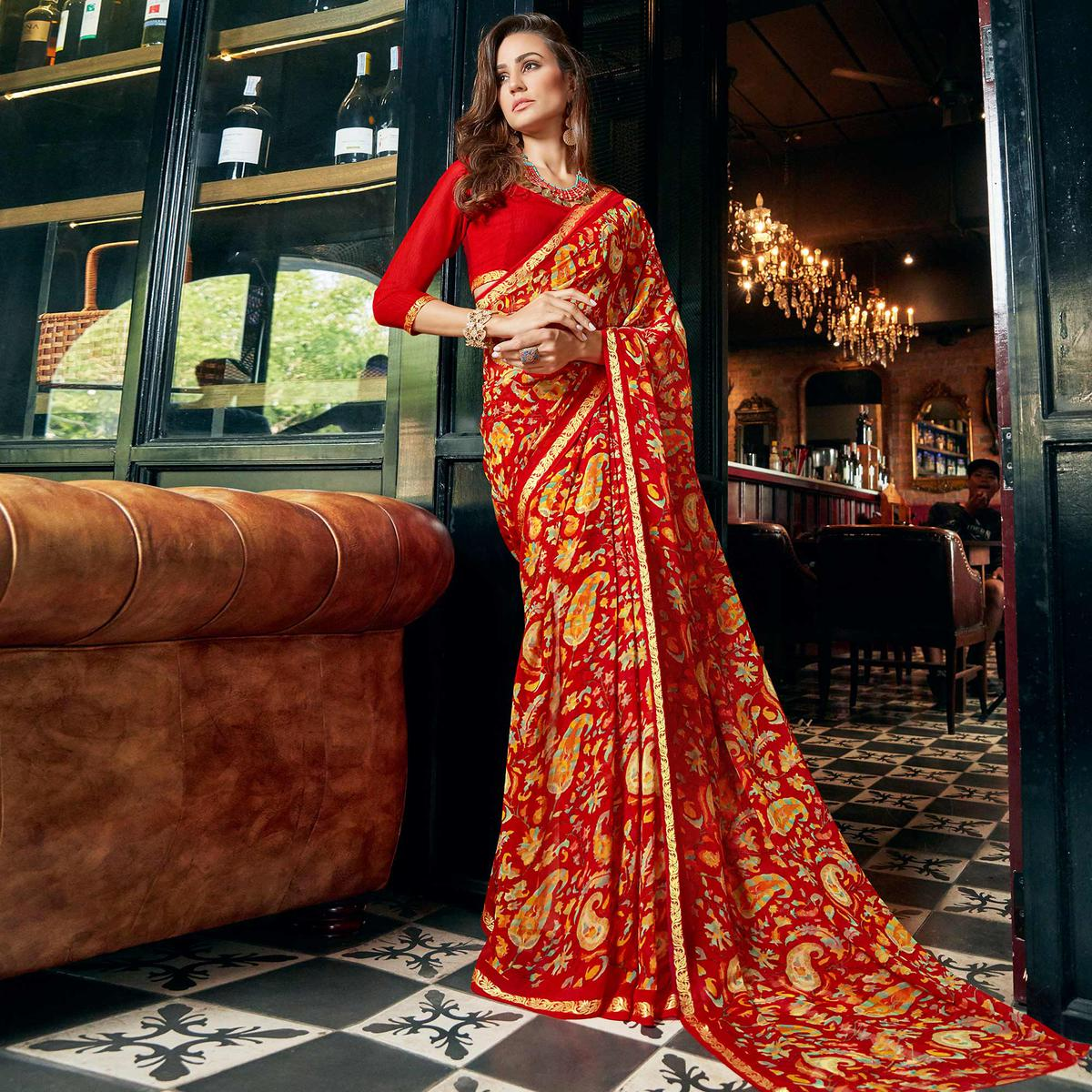 Eye-Catching Red Colored Casual Printed Georgette Saree
