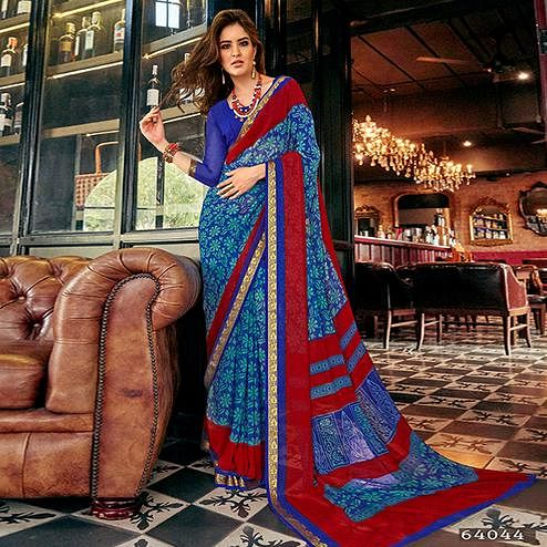 Mesmerising Blue Colored Casual Printed Georgette Saree