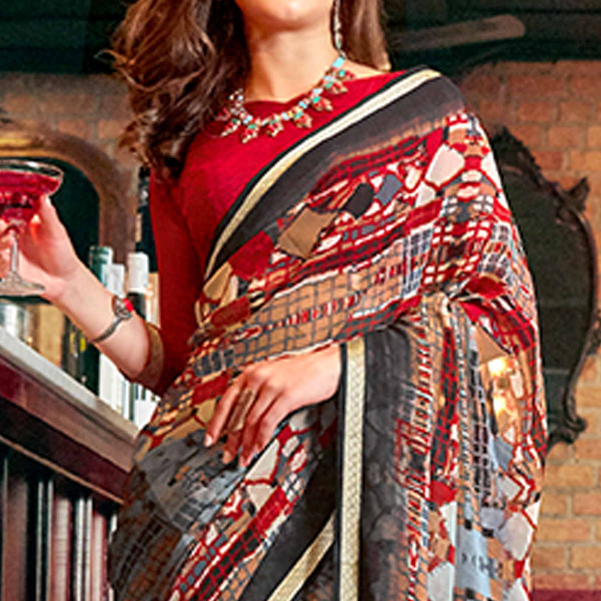 Lovely Gray Colored Casual Printed Georgette Saree