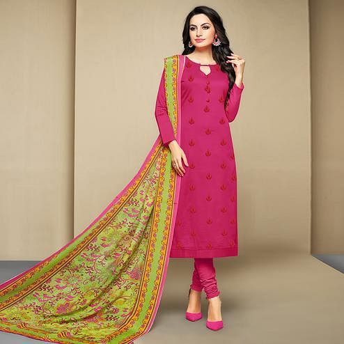 Surpassing Dark Pink Colored Party Wear Embroidered Cotton Suit