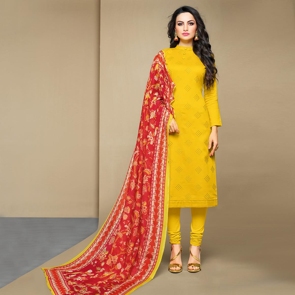 Entrancing Yellow Colored Party Wear Embroidered Cotton Suit