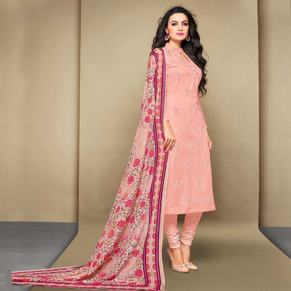 4f63693a22 Buy Imposing Baby Pink Colored Party Wear Embroidered Cotton Suit for  women's online India, Best Prices, Reviews - Peachmode