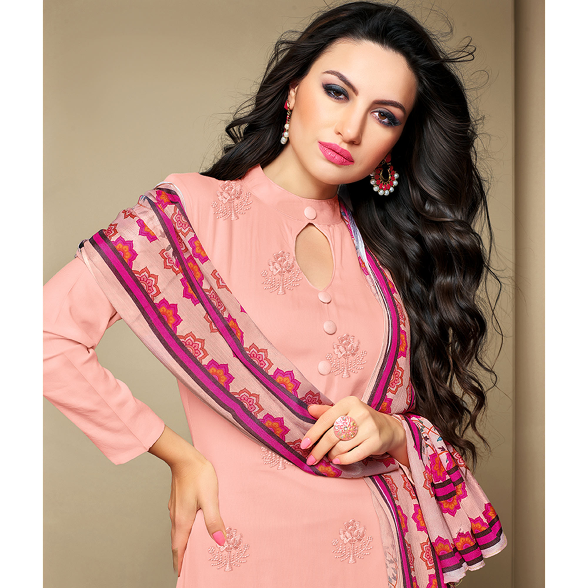 Imposing Baby Pink Colored Party Wear Embroidered Cotton Suit