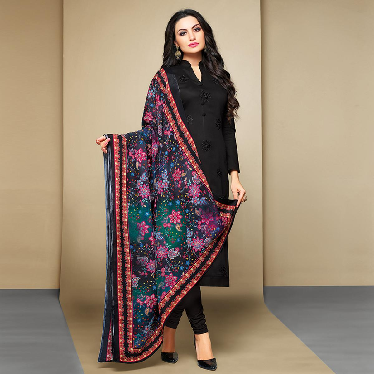 Blissful Black Colored Party Wear Embroidered Cotton Suit