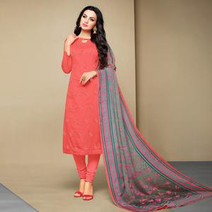 Ideal Coral Red Colored Party Wear Embroidered Cotton Suit