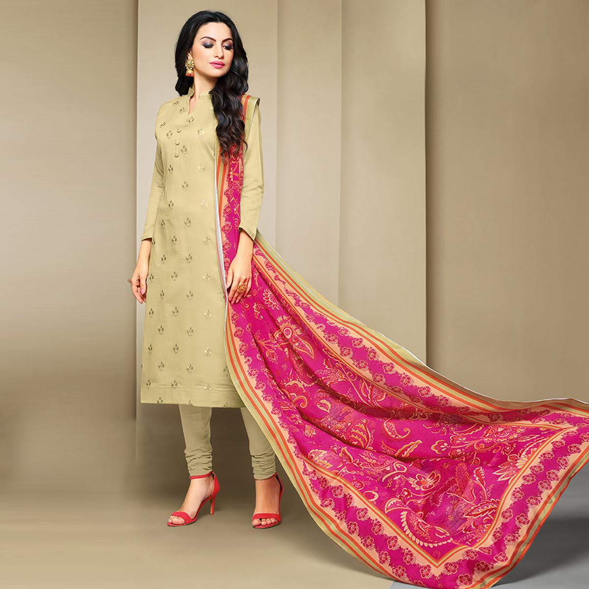 Engrossing Cream Colored Party Wear Embroidered Cotton Suit