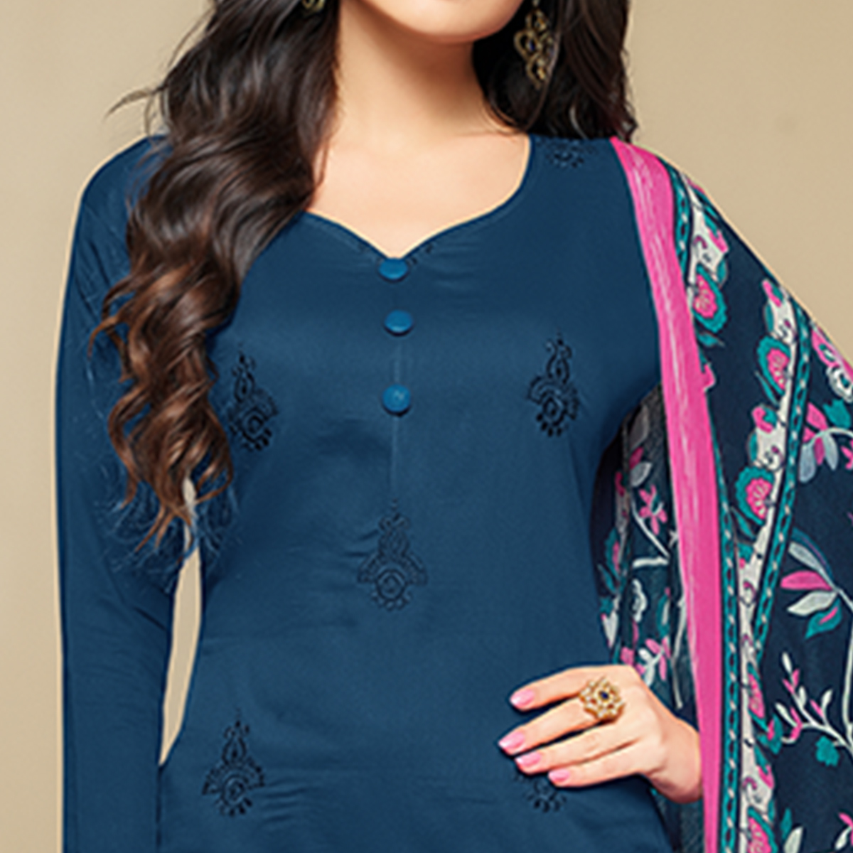 Fantastic Navy Blue Colored Party Wear Embroidered Cotton Suit