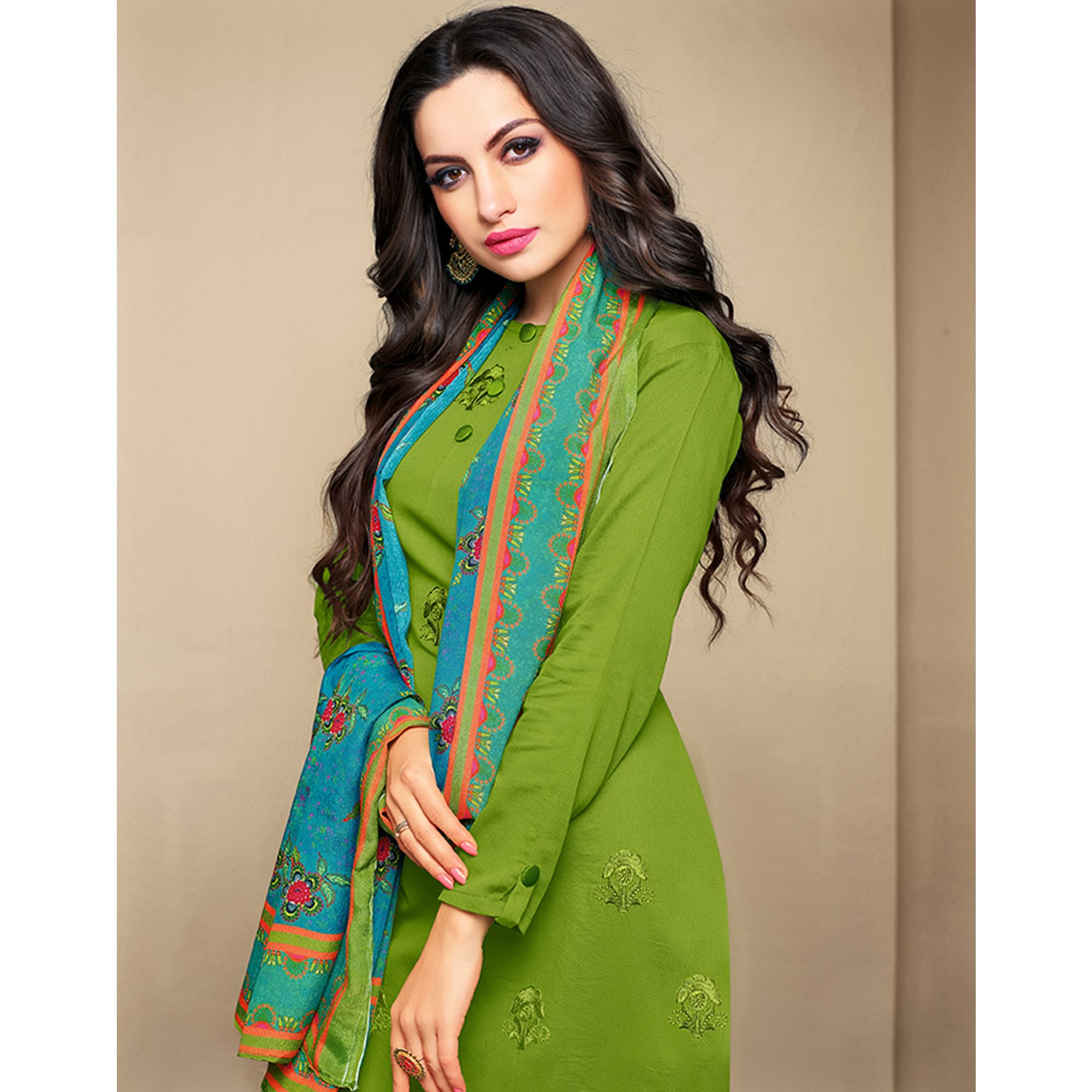 Staring Green Colored Party Wear Embroidered Cotton Suit