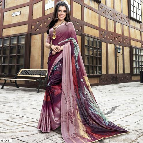 Amazing Wine Colored Casual Printed Georgette Saree