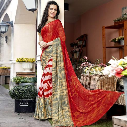 Beautiful Red Colored Casual Printed Georgette Saree