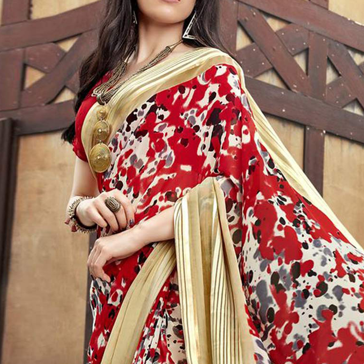 Eye-Catching Red-Beige Colored Casual Printed Georgette Saree