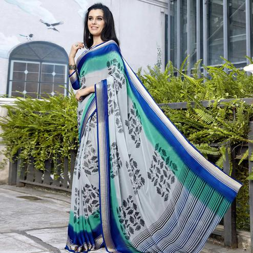 Appealing Gray Colored Casual Printed Georgette Saree