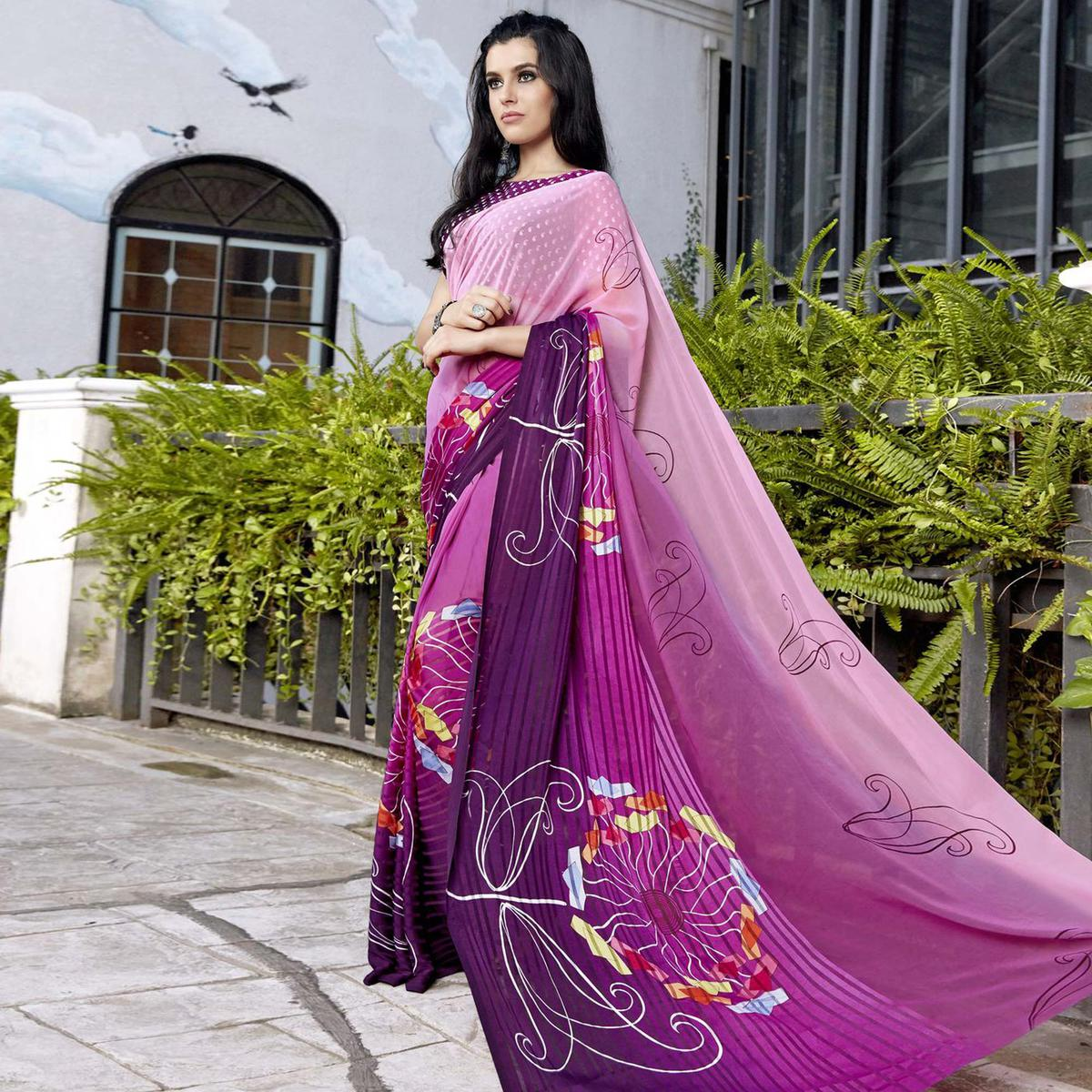 Blooming Purple-Pink Colored Casual Printed Georgette Saree