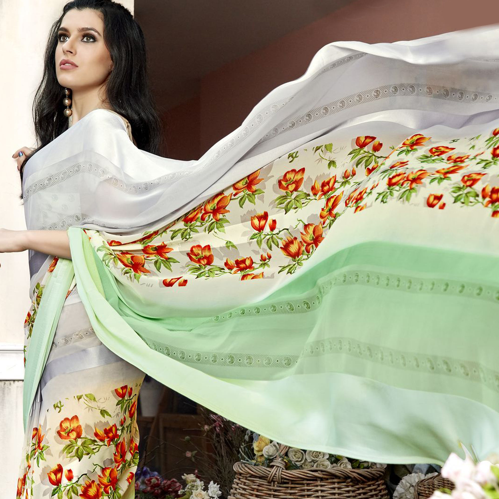 Refreshing Multi Colored Casual Printed Georgette Saree