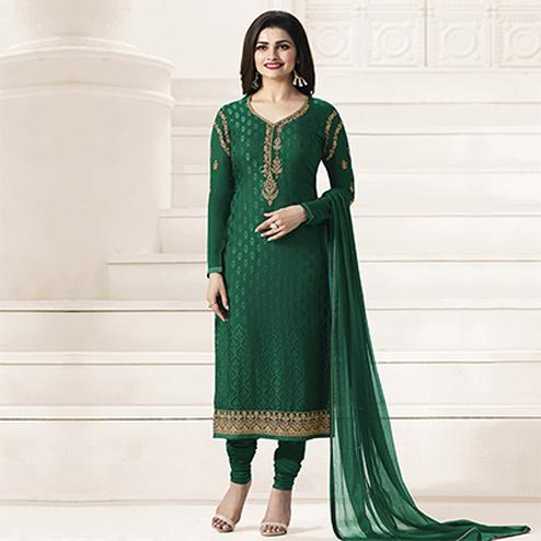 Dark Green Georgette Designer Suit