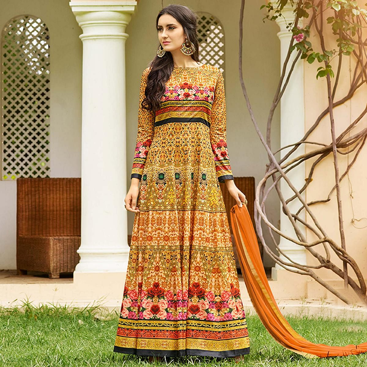 Jazzy Yellow Colored party Wear Printed Art Silk Anarkali Suit