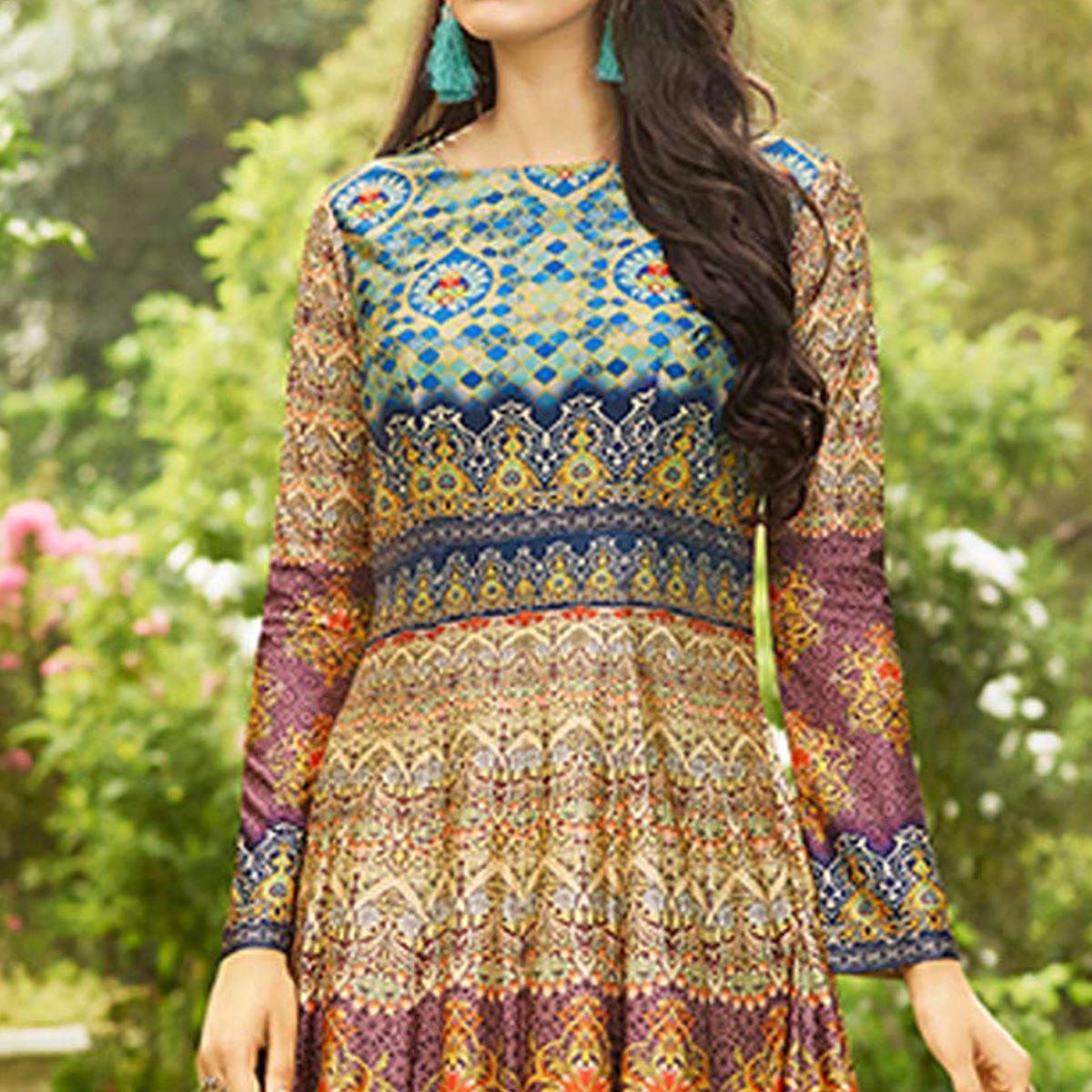 Pleasant Multi Colored party Wear Printed Art Silk Anarkali Suit