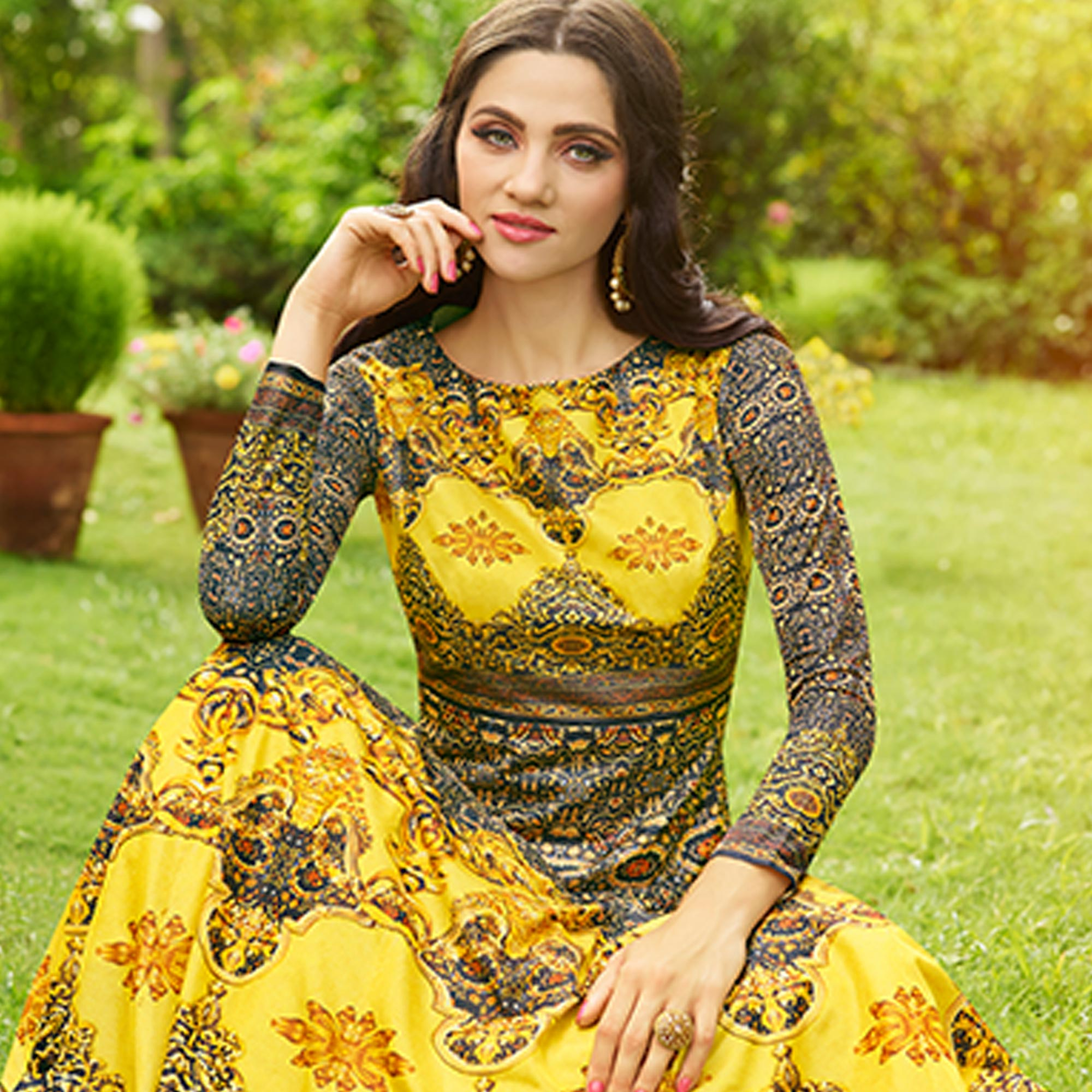 Unique Yellow Colored party Wear Printed Art Silk Anarkali Suit