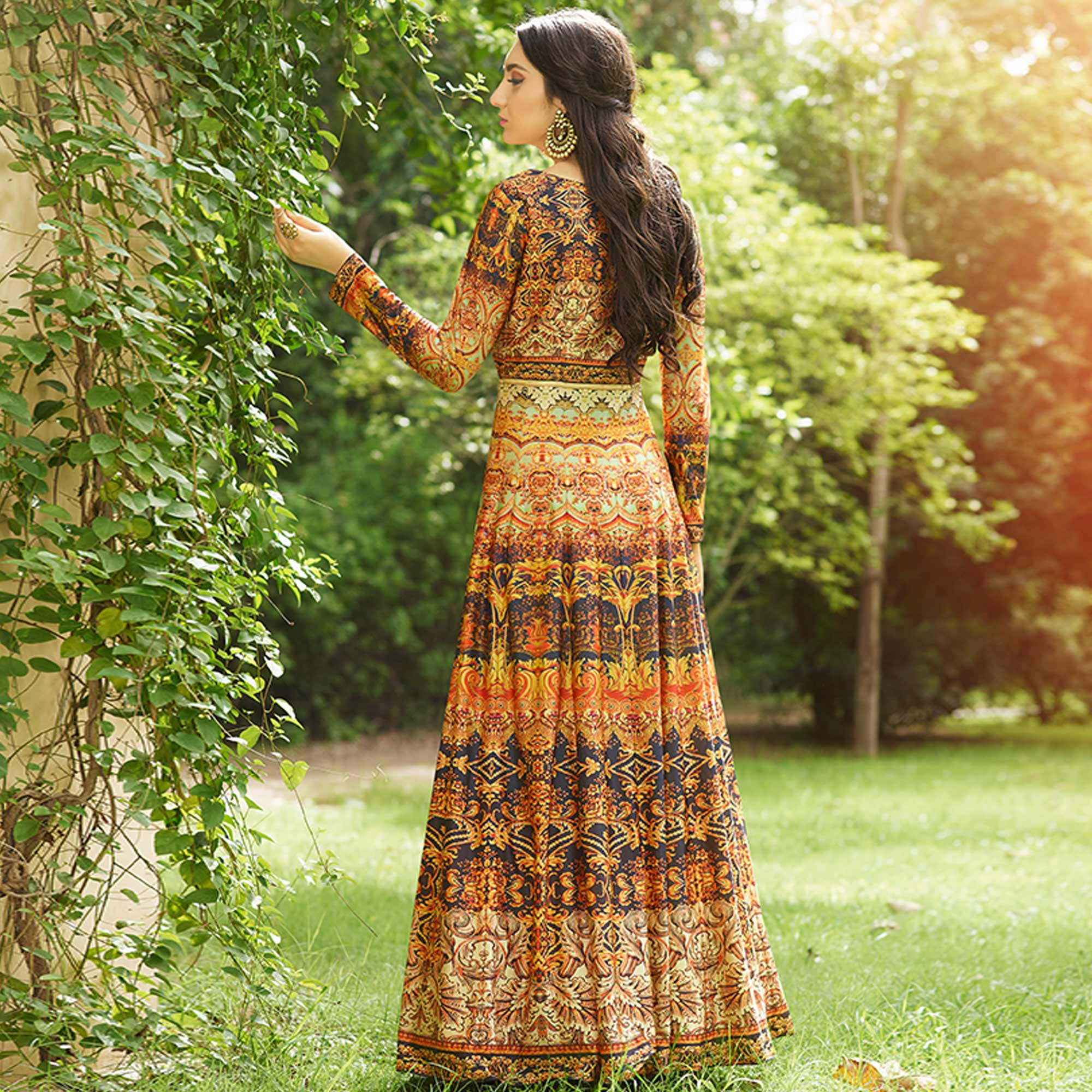 Refreshing Orange Colored party Wear Printed Art Silk Anarkali Suit