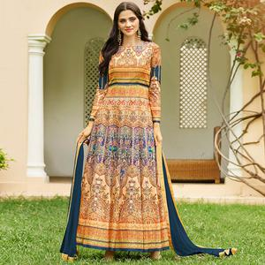 Elegant Cream Colored party Wear Printed Art Silk Anarkali Suit
