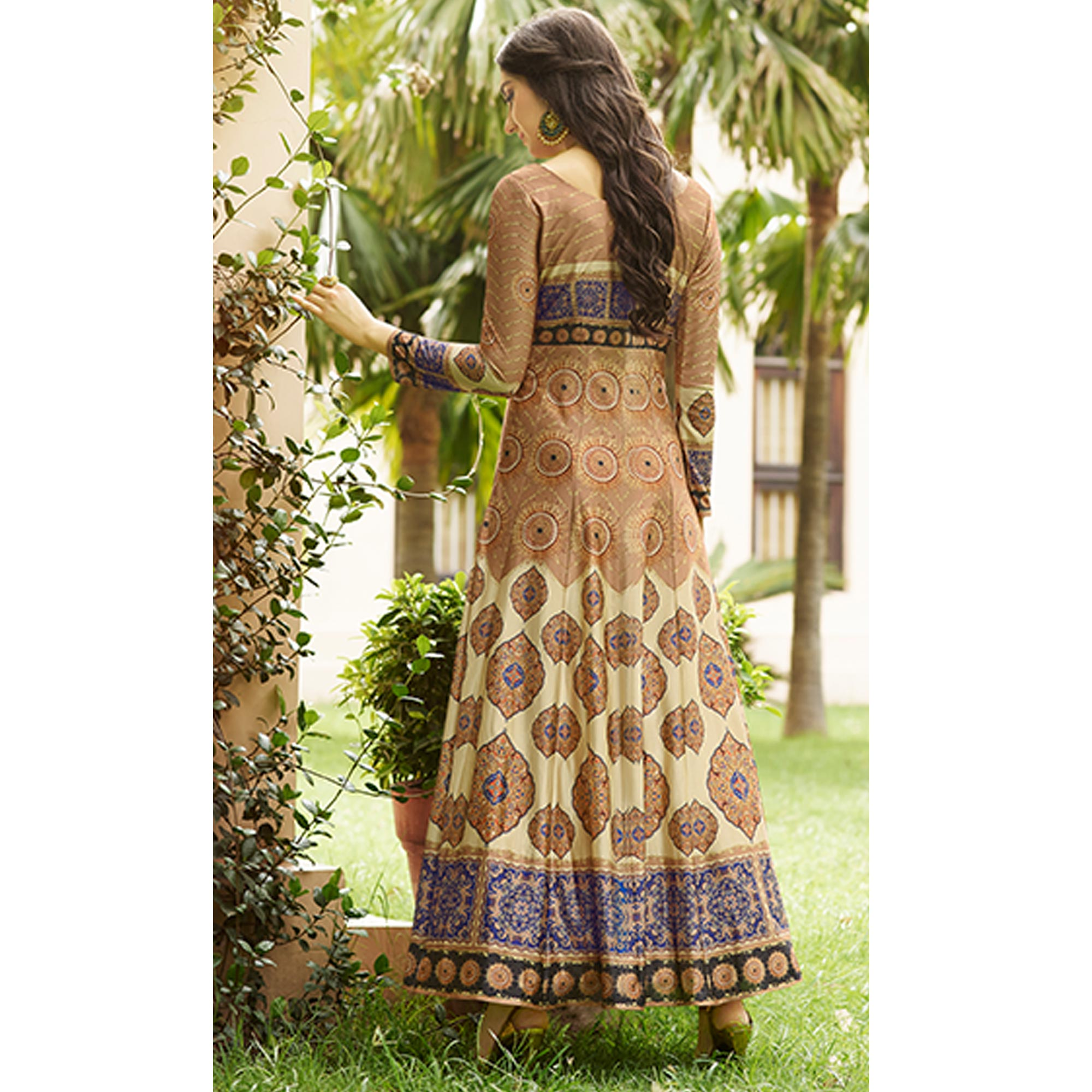 Alluring Brown Colored party Wear Printed Art Silk Anarkali Suit