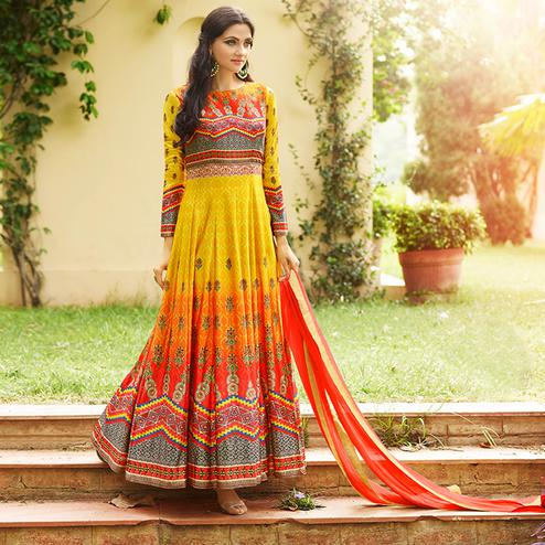 Radiant Yellow - Orange Colored party Wear Printed Art Silk Anarkali Suit
