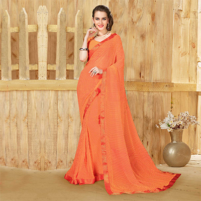 Alluring Orange Georgette Printed Saree