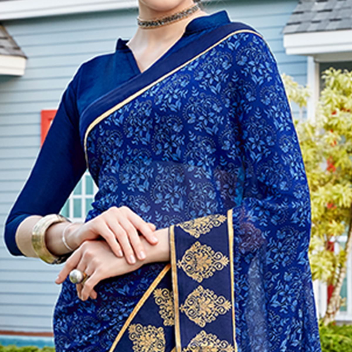 Adorning Blue Colored Casual Printed Georgette Saree