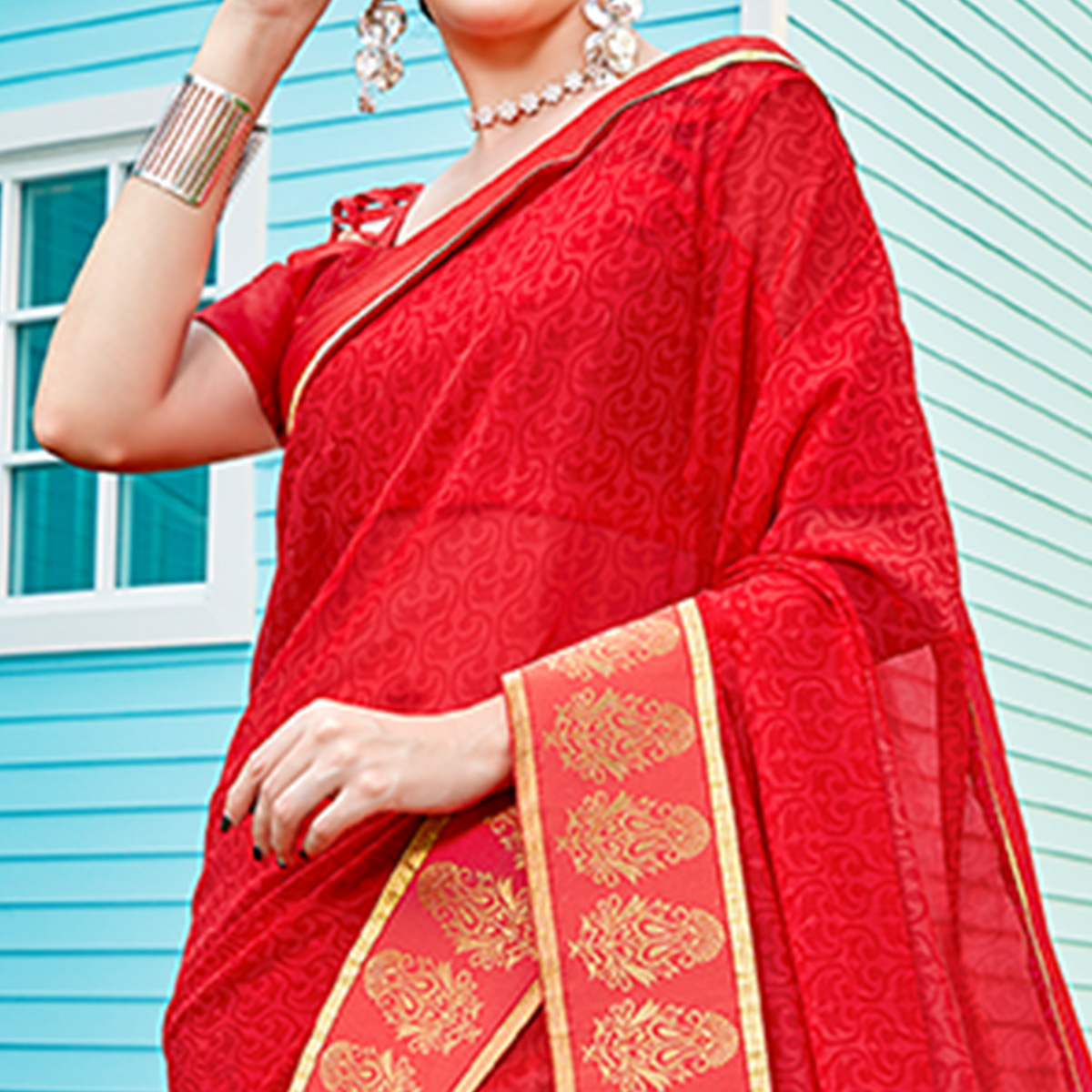Mesmeric Coral Red Colored Casual Printed Georgette Saree