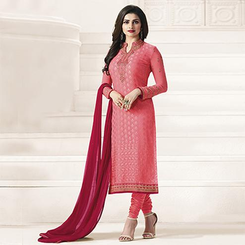 Light Pink Embroidered Churidar Suit