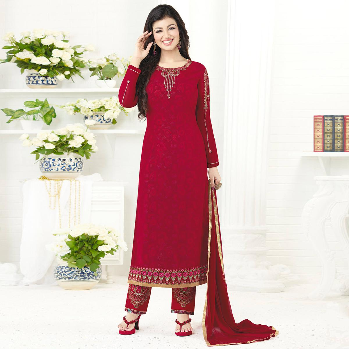Jazzy Pinkish Red Colored Embroidered Party Wear Georgette Salwar Suit