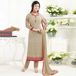 Appealing Beige Colored Embroidered Party Wear Georgette Salwar Suit