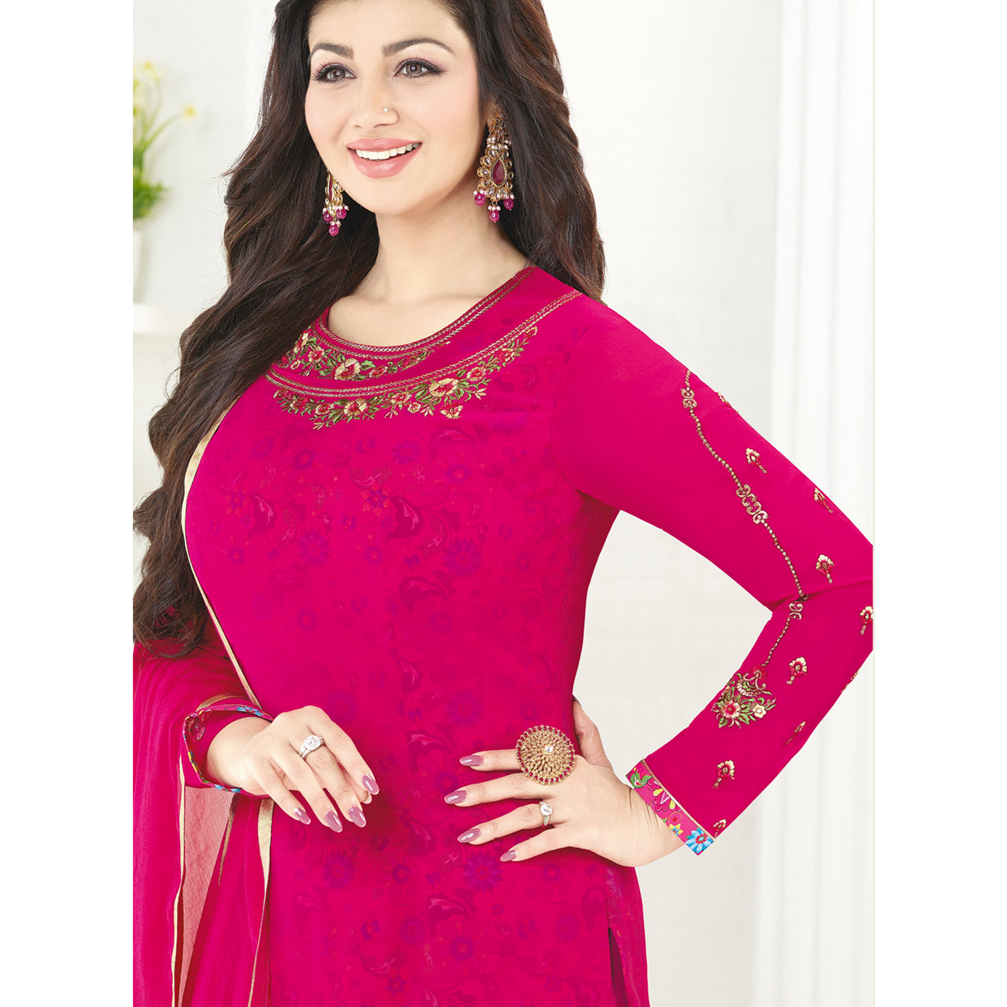 Groovy Pink Colored Embroidered Party Wear Georgette Salwar Suit