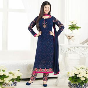 Prominent Navy Blue Colored Embroidered Party Wear Georgette Salwar Suit
