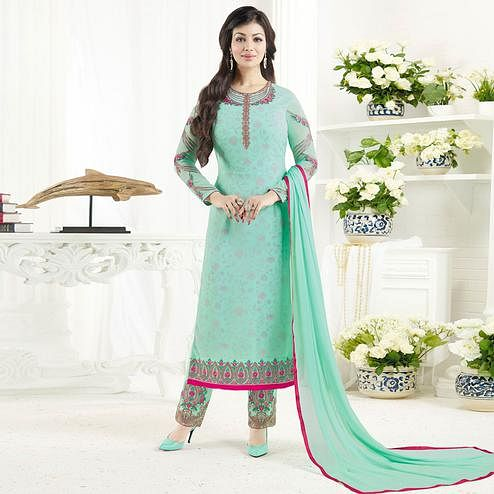 Capricious Aqua Blue Colored Embroidered Party Wear Georgette Salwar Suit