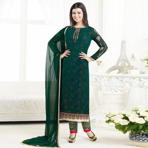 Adorning Green Colored Embroidered Party Wear Georgette Salwar Suit
