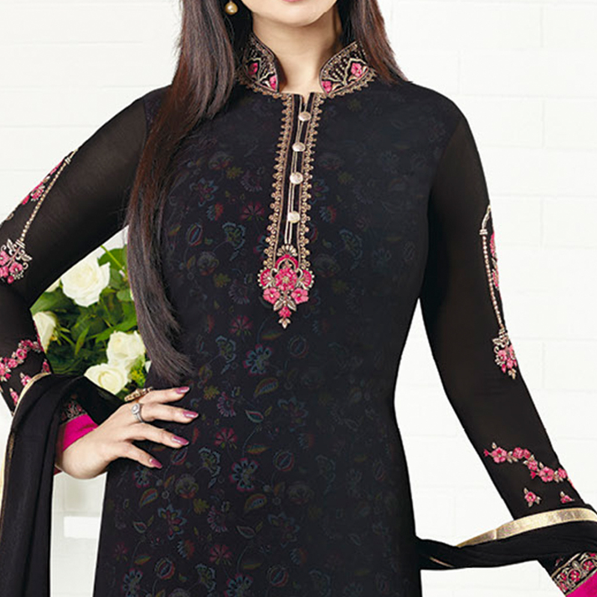 Captivating Black Colored Embroidered Party Wear Georgette Salwar Suit