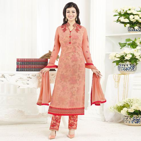 Glowing Peach Colored Embroidered Party Wear Georgette Salwar Suit