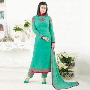 Radiant Turquoise Green Colored Embroidered Party Wear Georgette Salwar Suit