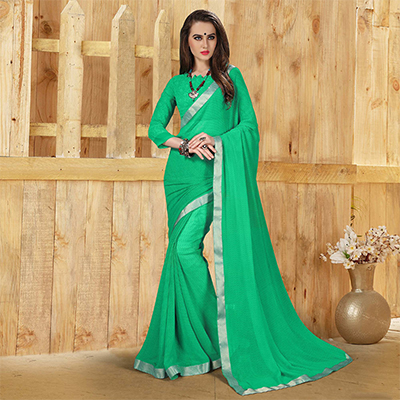 Appealing Green Georgette Printed Saree
