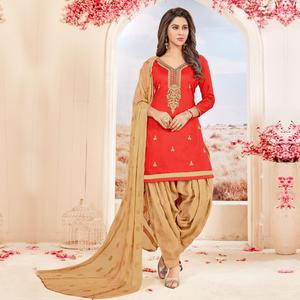 Different Coral Red Colored Partywear Embroidered Cotton Dress Material