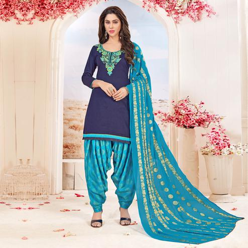 Stylish Blue Colored Partywear Embroidered Cotton Dress Material